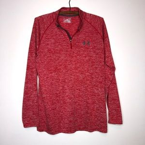 Under Armour Heather Red 1/2 Zip Thin Pullover S